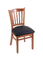 wood chair shown in med finish, black vinyl seat, wood seat available