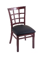 beech wood chair shown in dark cherry, black vinyl seat