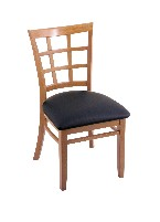 beech wood chair shown in med., black vinyl seat
