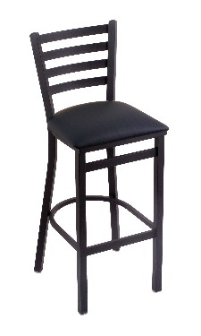 "Jackie fixed seat bar, counter stool shown in black wrinkle, black vinyl seat; 25 or 30"" seat ht."