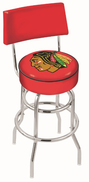Chrome swivel seat bar stool with NHL logo