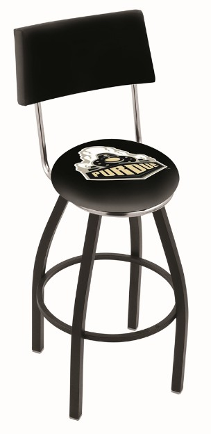 metal swivel seat bar stool with back and logo